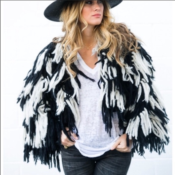 Indah Jackets & Blazers - INDAH fringe jacket black and white festival